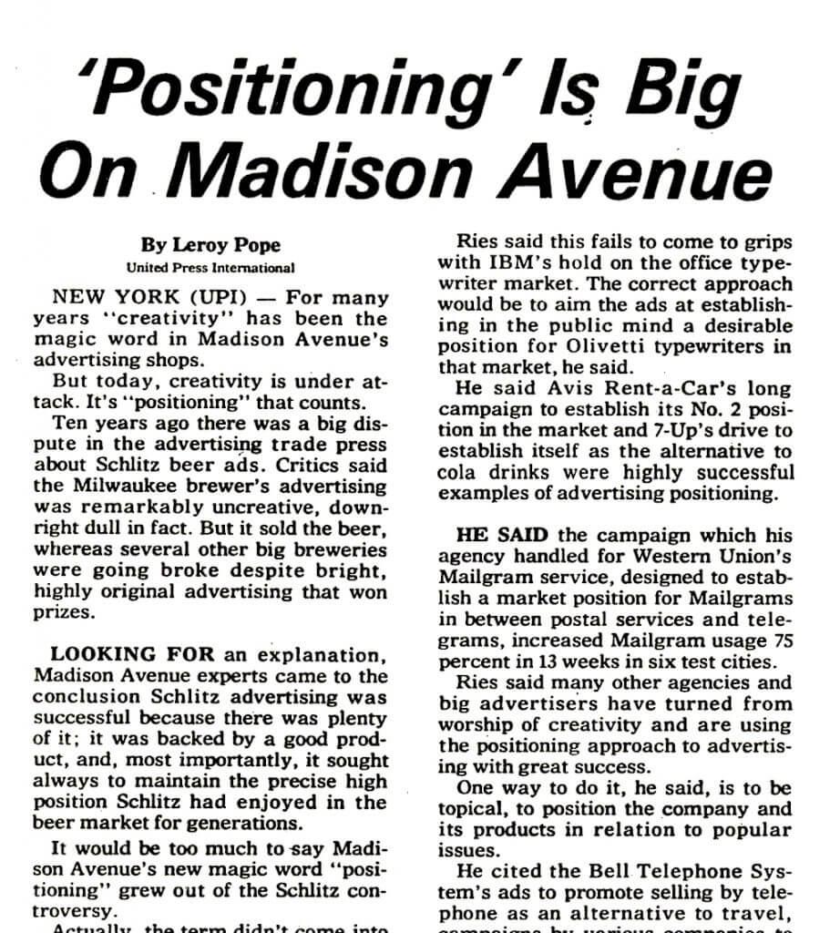 Positioning is Big on Madison Aveune