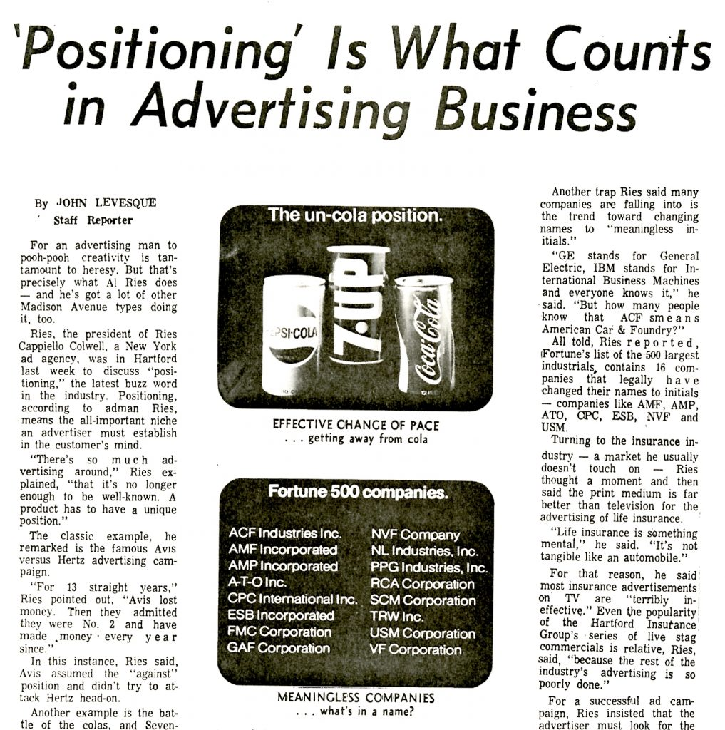 'Positioning' is What Counts in Advertising Business.